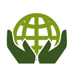 earth day planet and human hands isolated icon vector image