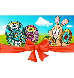 Easter banner with bow and bunny - vector