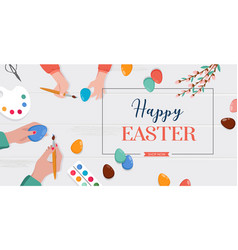 easter scene - happy family are preparing vector image