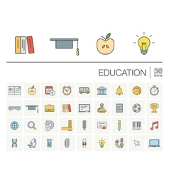 Education and learning color icons vector