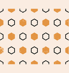ethnic boho seamless pattern with hexagons print vector image