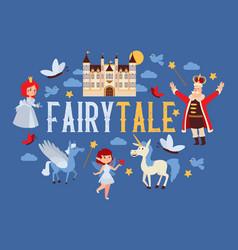 Fairy tale cartoon kingdom king princess vector