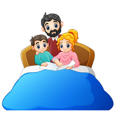Family reading a book to son on bed on a white bac vector