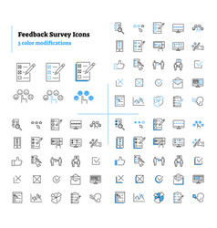 feedback survey outline icons collection vector image