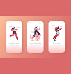 fitness character exercise landing page template vector image
