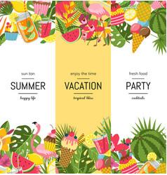 Flat cute summer elements cocktails vector