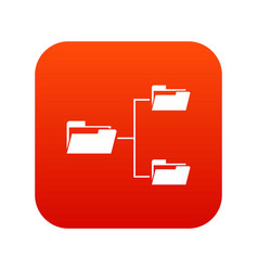 Folders structure icon digital red vector