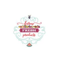 fruits and vegetables vegetarian banner farmer vector image