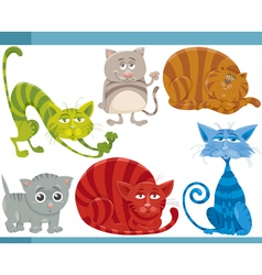 funny cats cartoon set vector image