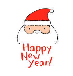 Funny santa claus with new year lettering in vector