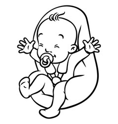 Funny small baby with dummy in the car seat vector