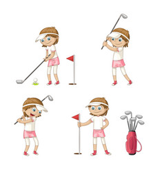 Girl playing golf vector