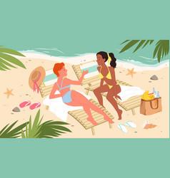girls on travel vacation tropical sea resort vector image