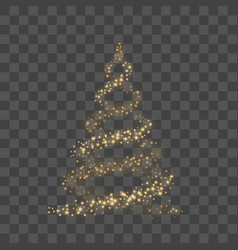 Gold christmas tree on transparent background vector