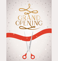 Grand opening message with scissors cutting red vector