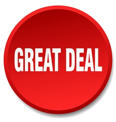 great deal red round flat isolated push button vector image