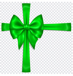 green bow with crosswise ribbons vector image