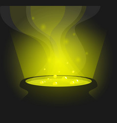 Green glowing witch pot with potion in cartoon vector