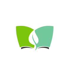 green leaf book environment logo vector image