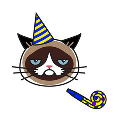 grumpy cat in party hat with party horn blower vector image