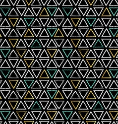 Grunge triangle shapes seamless pattern in gold vector