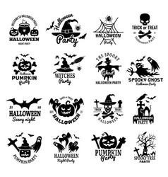 halloween symbols scary logo collection horror vector image