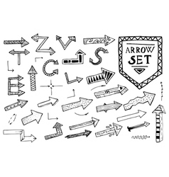 Hand drawn arrow icons set on white background vector
