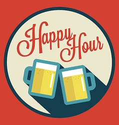 Happy hour with beer vector