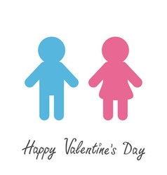 Happy Valentines Day Love card Man and Woman icon vector