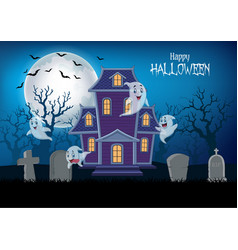 Haunted house and ghost with halloween background vector