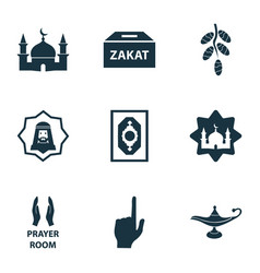 Holiday icons set with god dates masjid and vector