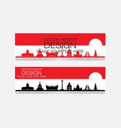 Indonesian landmark design banner web vector