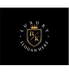 Initial bk letter royal luxury logo template vector