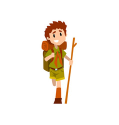 Injured boy scout character in uniform with broken vector