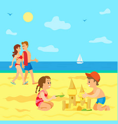 kids playing on beach summer vacation children vector image