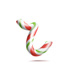 Letter r 3d realistic candy cane alphabet vector