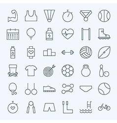 Line Sport and Fitness Icons Set vector image