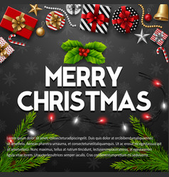 merry christmas with gift box vector image