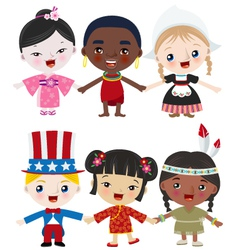 multicultural kids vector image