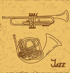 Music background with trumpets vector
