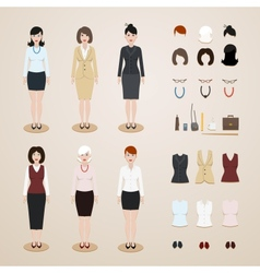 Office women set vector image