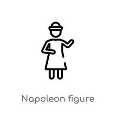 Outline napoleon figure icon isolated black vector