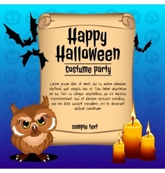Owl with three candles card happy Halloween vector image