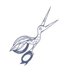 pair antique scissors shaped in fancy bird vector image