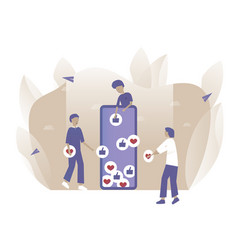 People put like online in mobile phone vector