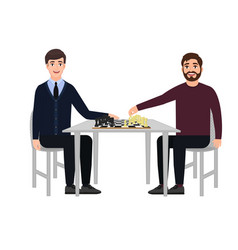 People sit at the table and play chess young vector