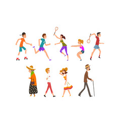 people walking and training in park set vector image