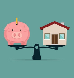 Piggy bank and house on weighing machine vector
