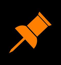 pin push sign orange icon on black background vector image