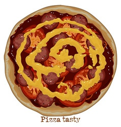 Pizza with sausage tomato and cheese vector